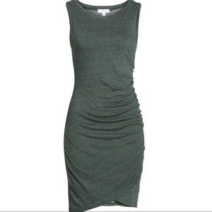 Leith Ruched Body-Con Tank Dress Heathered Green